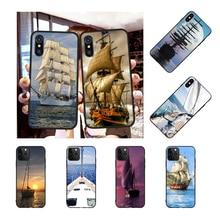 NBDRUICAI velero barco Colorfu TPU funda de teléfono negro casco para iPhone 11 pro XS MAX 8 7 6 6S Plus X 5S SE XR funda