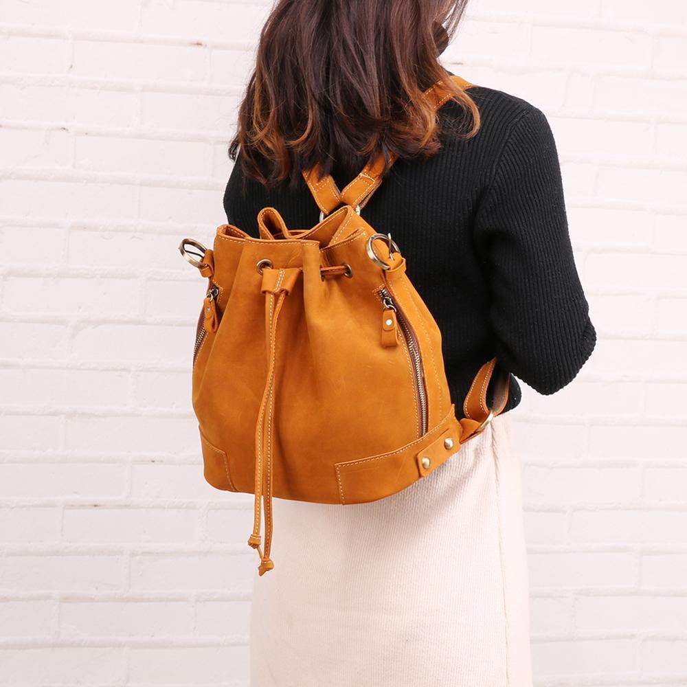 Quente nova moda amarelo quantidade de couro mochila feminina sacos de ombro para meninas saco casual multi-função sacos de viagem moda