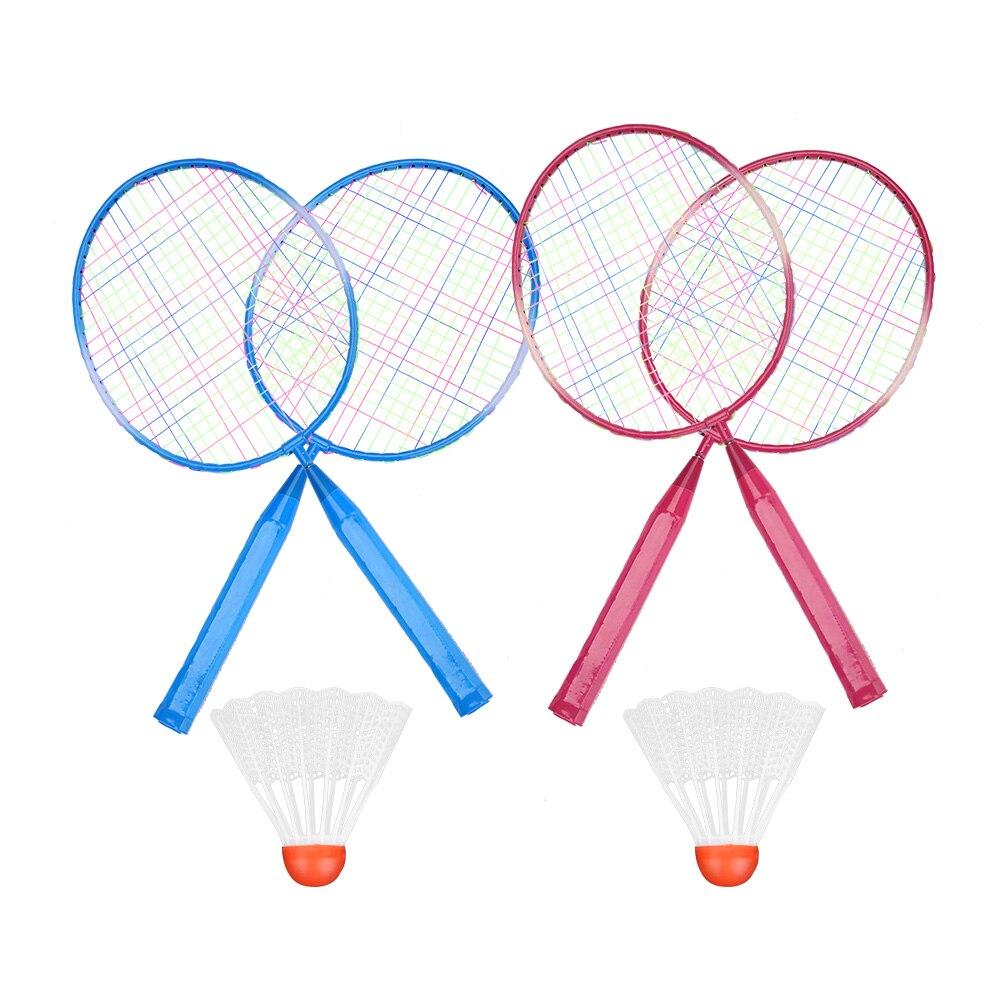 Juego de raquetas de bádminton profesionales de 2 uds., raqueta de bádminton doble familiar de nailon y aleación, juego de bádminton más ligero