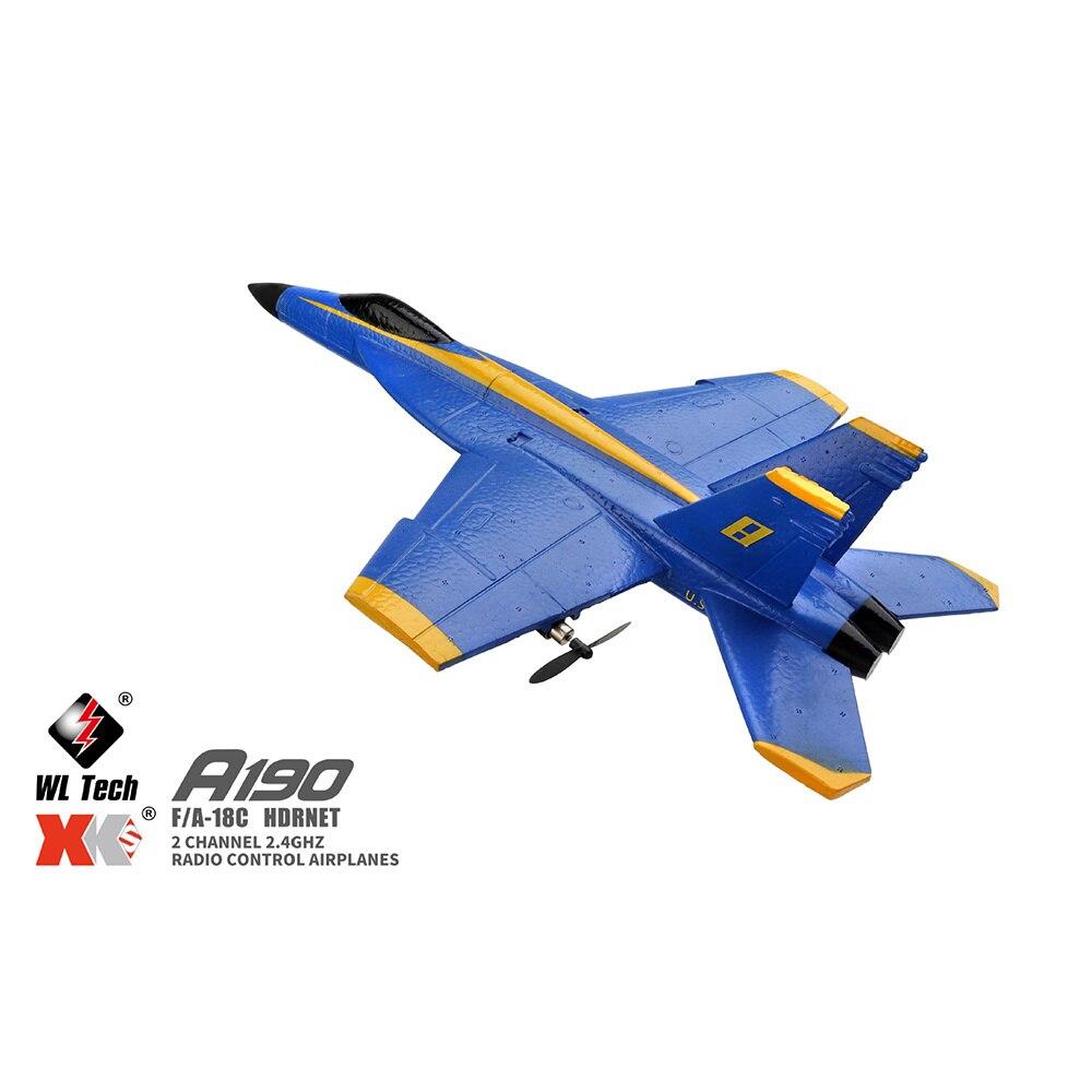 WLTODADYS  A190 F-18 RC Plane F/A-18C Hornet 2Channel 2.4GHZ Radio Control Aircraft Glider Control Airplane 6axis Drone Remote enlarge