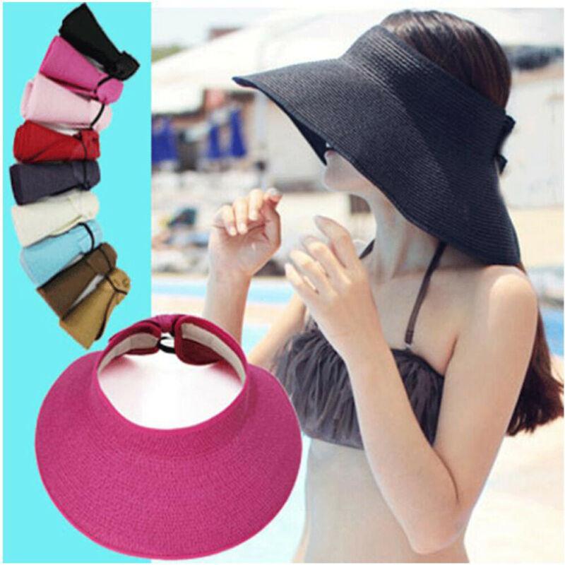 Hot Summer Hoilday Boho Straw Hat Women Ladies Wide Brim Beach Foldable Knitted Flower Straw Sun Hat Sun Cap One Size Wide