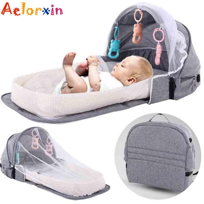 Портативная кроватка для новорожденных, переносная дорожная сетка от солнца и комаров, дышащая складная корзина для сна для младенцев