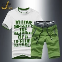 summer mens sets 2 pieces set short sleeve print tracksuit men casual t shirtshorts male clothes suits