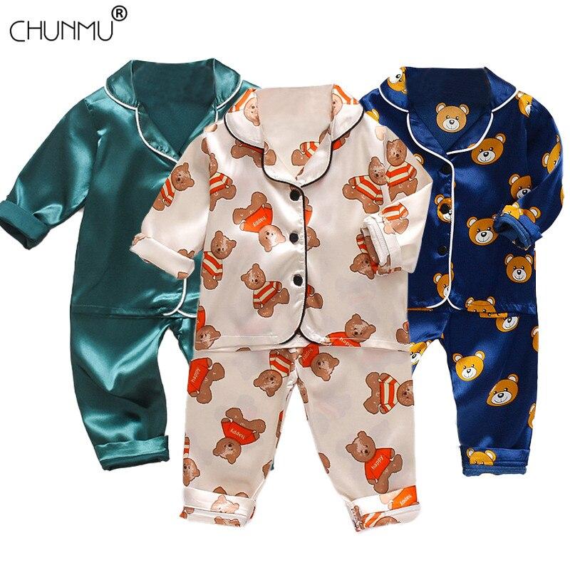 Children's Pajamas Set Spring Baby Boy Girl Clothes Casual Sleepwear Set Kids Cartoon Tops+Pants Toddler Clothing Sets