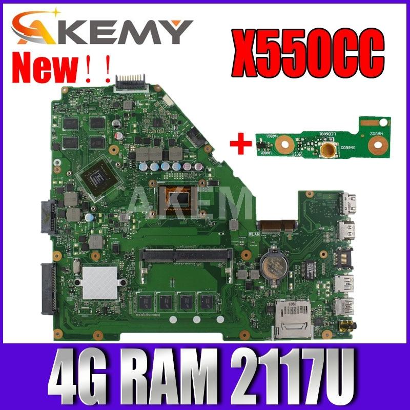Akmey X550CC For Asus X550CA R510C Y581C X550C X550CL لوحة الأم للكمبيوتر المحمول 4G RAM 2117U CPU اختبار 100% لوحة الأم الأصلية للعمل
