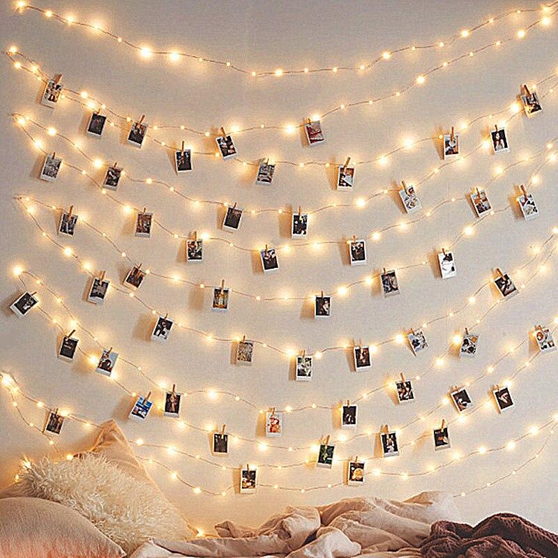 Clip de foto alambre de cobre LED guirnalda de luces adornos navideños para el hogar Año Nuevo Navidad decoración árbol de Navidad decoración Kerst