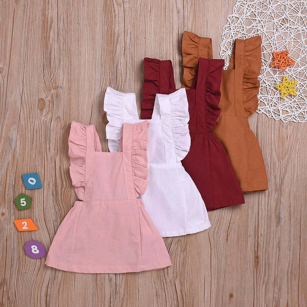 12m 5y baby girl ruffle fly sleeve linen dress new kids girls solid dresses button falbala princess party tops clothes vestido 6M-3Y Cute Infant Kids Baby Girl Summer Solid Color Ruffle Backless Princess Party Dress Clothes Summer