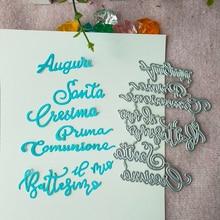 New Italy blessing word cutting Die mould pattern scrapbook die embossing DIY handicraft paper card photo album metal