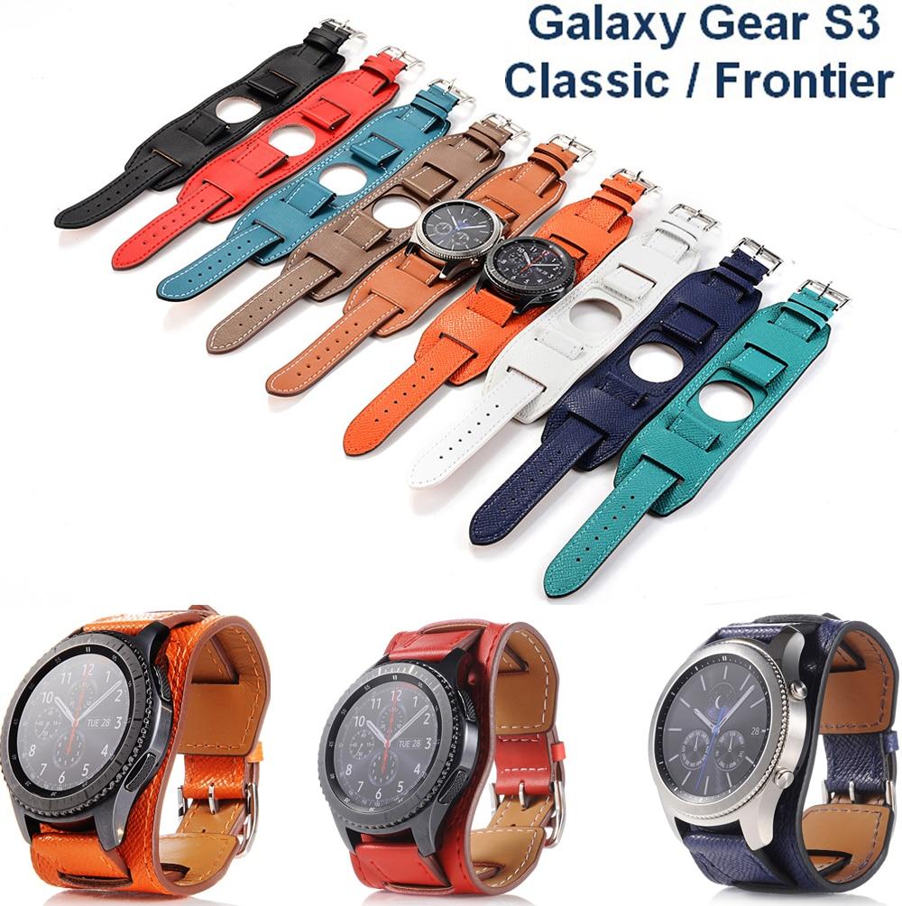 Pulsera de cuero de lujo de 22MM para Galaxy Gear S3 Classic/Frontier, correa de repuesto para Samsung S3
