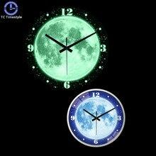 14 Inches Wall Clock Mute Night Light Living Room Luminous Clocks Modern Quartz Decor Bedroom Glowing Clock For Home