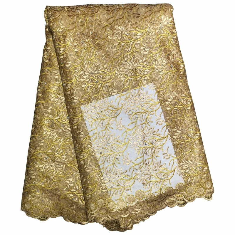 عالية الجودة التطريز الأفريقي نسيج من التول والدانتيل للنساء فستان ذاتي الصنع صنع العديد من الألوان 5 ياردة/مجموعة
