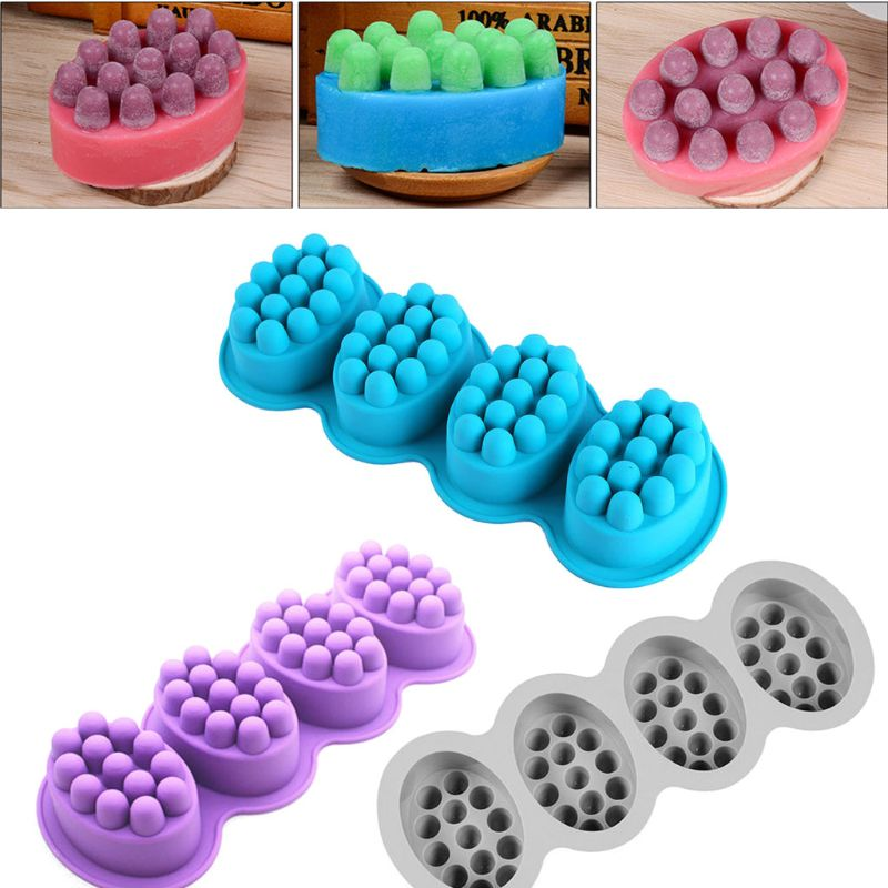 4 cavidades Oval masaje jabón molde masaje Barra de silicona moldes para hacer jabón DIY