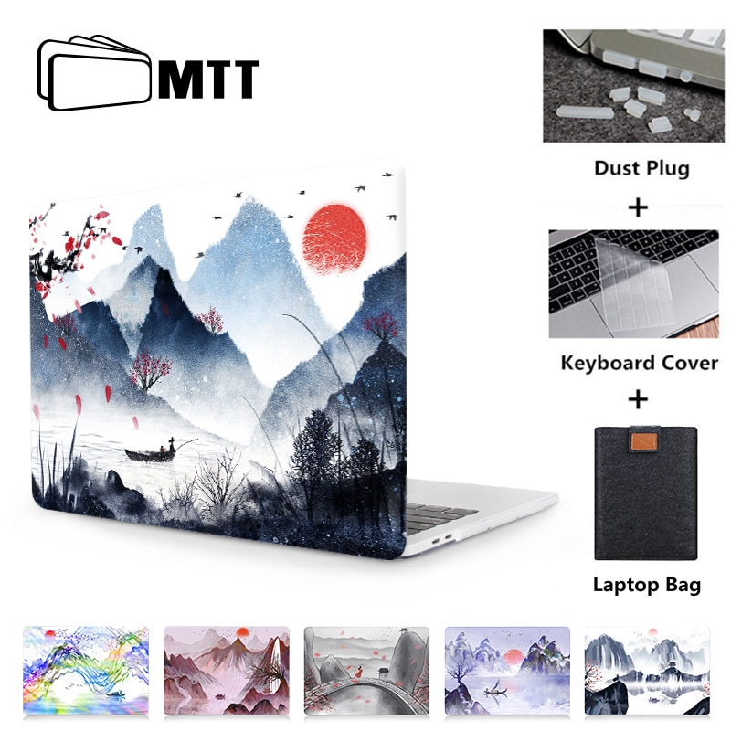 Funda de pintura de tinta MTT para Macbook Air 11 13,3 Pro Retina 13 15 16, funda de portátil para apple mac book, funda dura para portátil de 12 pulgadas