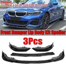 3PCS Auto Front Stoßstange Splitter Lip Spoiler Abdeckung Diffusor Körper Kit Für BMW 3 Serie G20 G28 2019 2020