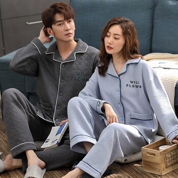 Turn-down Collar Button-Down  Pajama A Set Winter Pure Cotton Air Cotton Interlayer Pajamas Couples Lovers  Pajamas Warm comfy