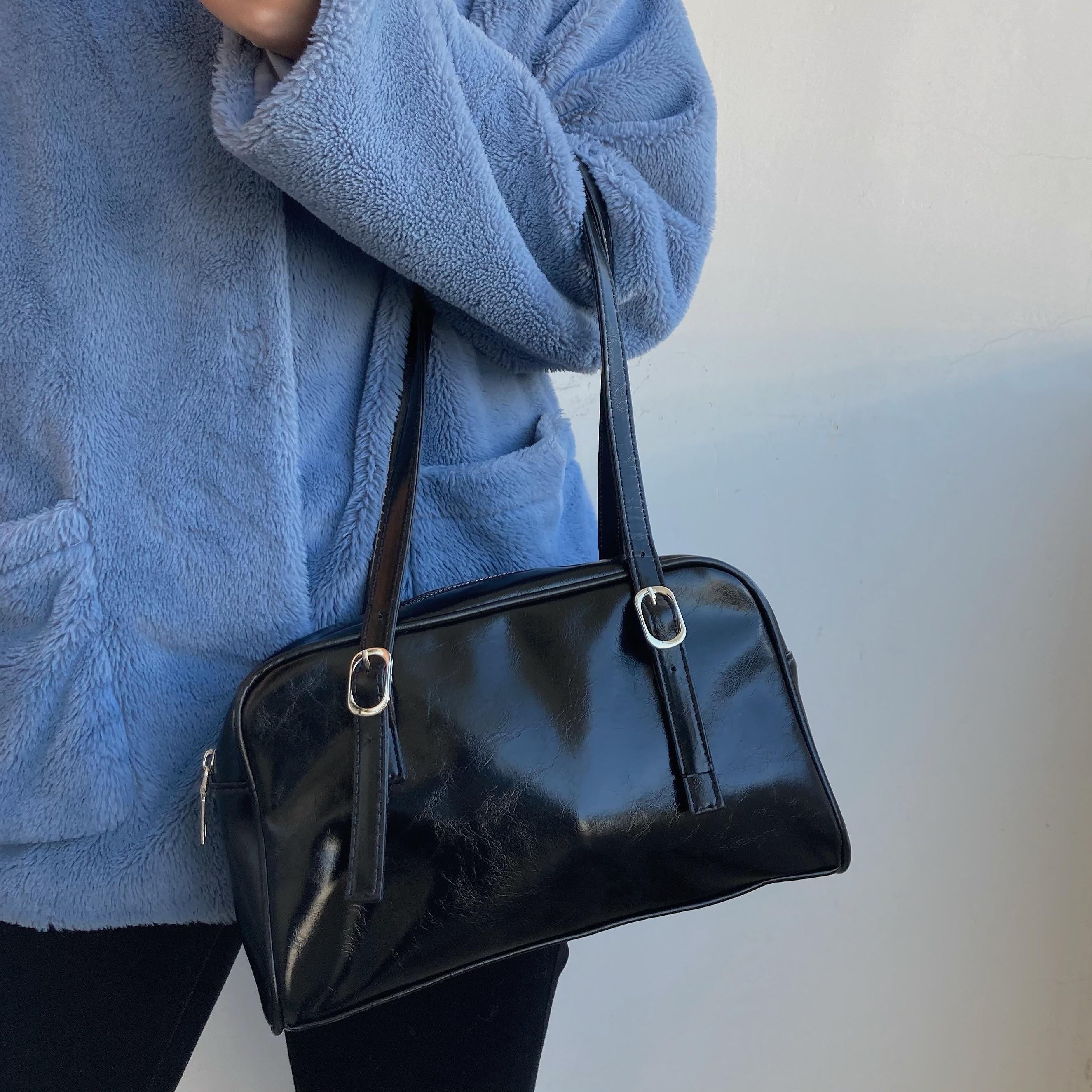 Fashion Design Ladies Underarm Bag Solid Color PU Leather Women Shoulder Bag Large Capacity Female Casual Tote Purse Handbags