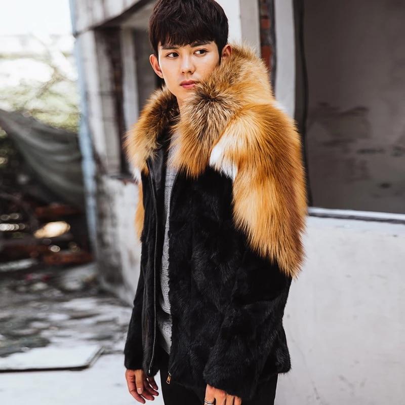 Mens Fox Fur Coat Mink Jacket Winter Warm Overcoat Short Outwear Stitching Provides Customized