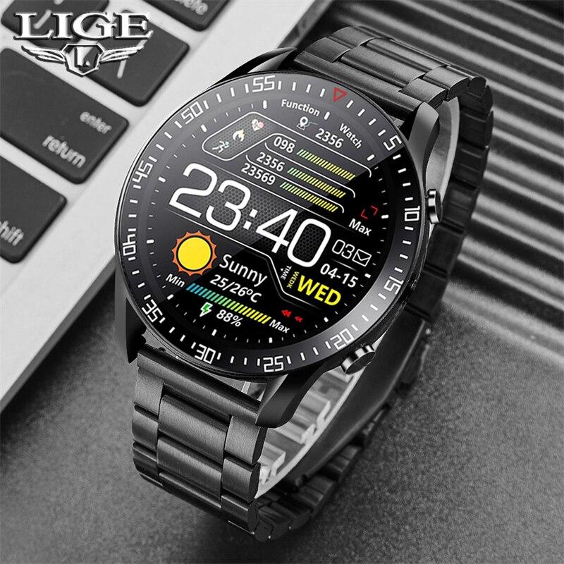LIGE New Smart watch Men Full touch Screen Sports Fitness watch IP68 waterproof Bluetooth Suitable F
