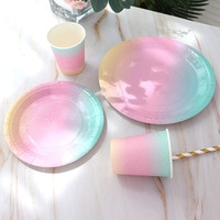 Градиент цвета радуги набор одноразовой посуды, Бронзирующая точечная декоративная бумажная тарелка, кружка, Соломка для свадьбы, дня рожд...