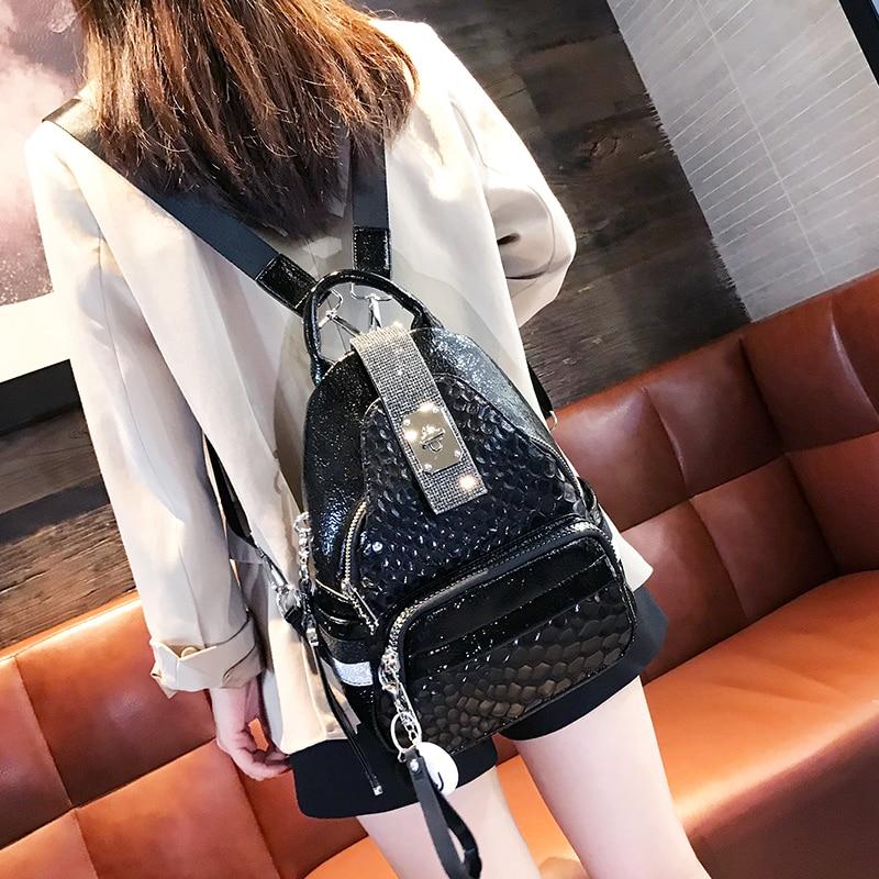 Split Leather Mochilas Fashion Bags for Women 2020 Luxury Diamonds Travel Backpack Small Designer Bagpack