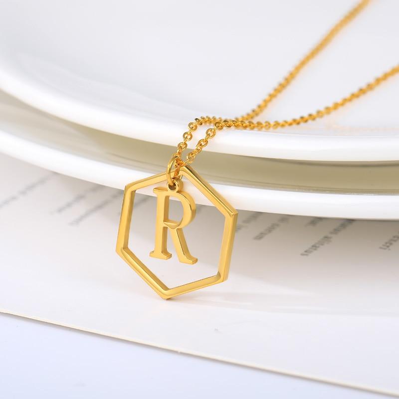 Collar con letras A-Z iniciales, colgante con monograma geométrico hexagonal dorado de acero inoxidable, joyería de regalo bisutería Mujer