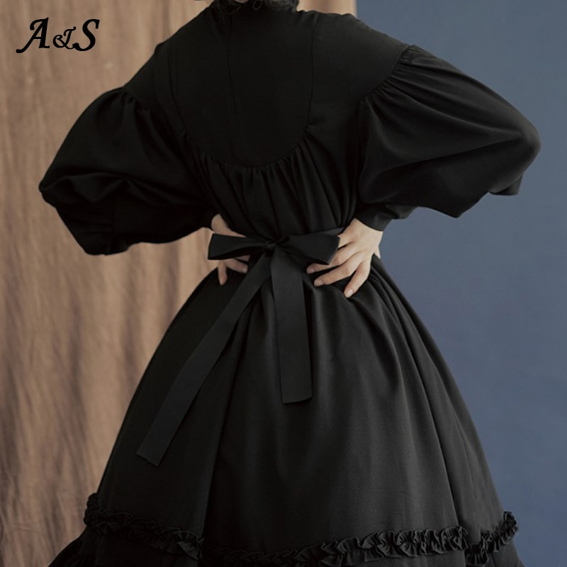 Gothic Vintage Lolita Dress Women Japanese Style Palace Princess Dresses Lantern Sleeve Cute Party Dress Sweet Cosplay Costume