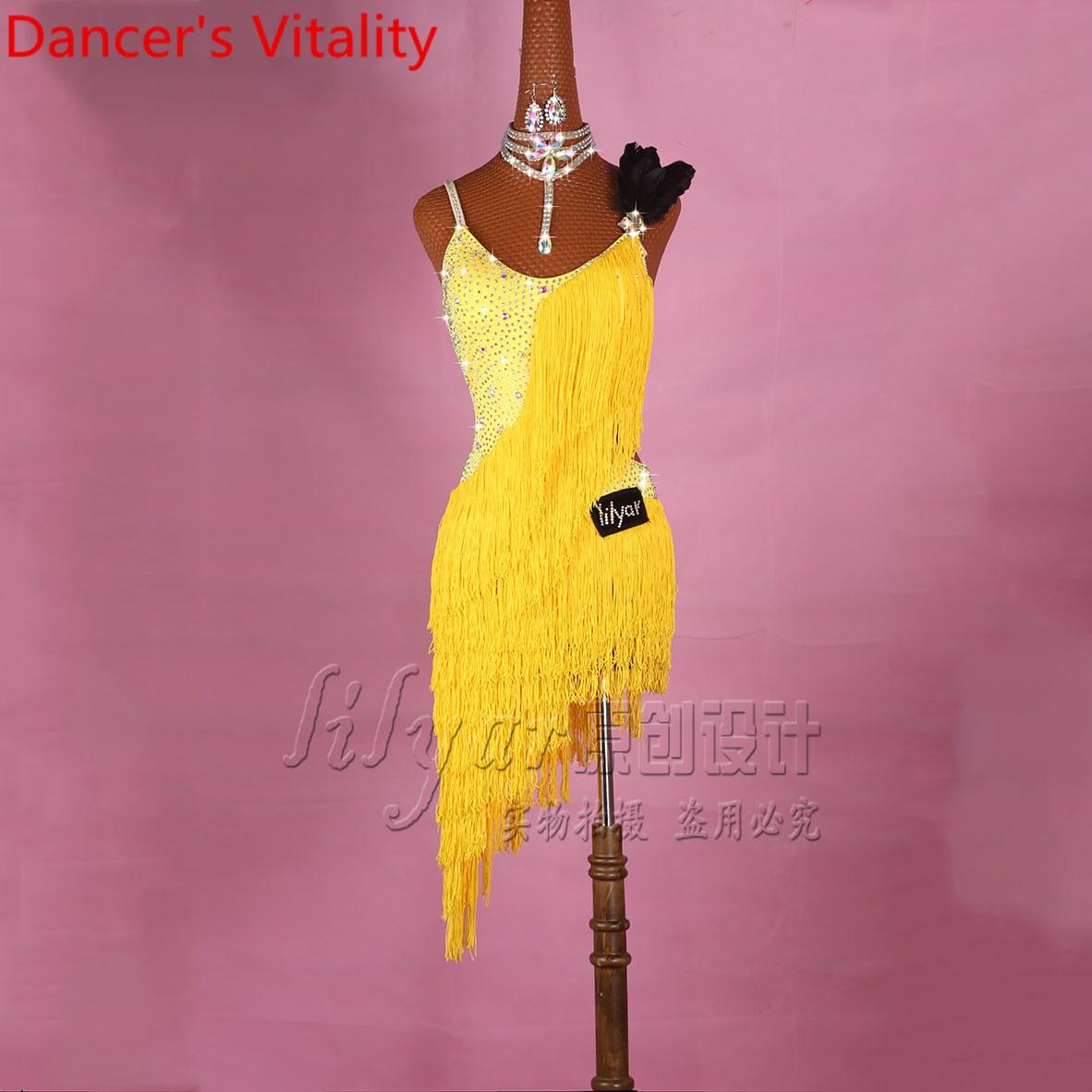 الحاضر اللاتينية فستان رقص للسيدات شرابة حجر الراين التنانير النساء رومبا السامبا تانغو تشا تشا الرقص المنافسة زي