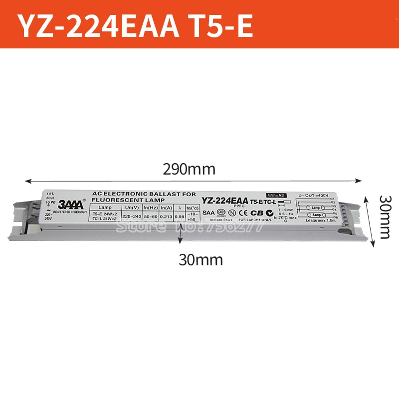 AC 220V YZ-224EAA YZ-324EAA T5-E 2*24W 3*24W المعدل T5 كوابح الإلكترونية ل 24W حو أنبوب الفلورسنت أضواء حوض السمك مصباح