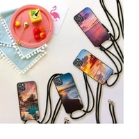 sunset view of bali phone case for iphone 7 8 11 12 x xs xr mini pro max plus strap cord chain lanyard soft