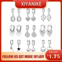 xiyanike 925 sterling silver cubic zirconial star snowflake flower fish tassel hoop earrings female engagement gift accessories