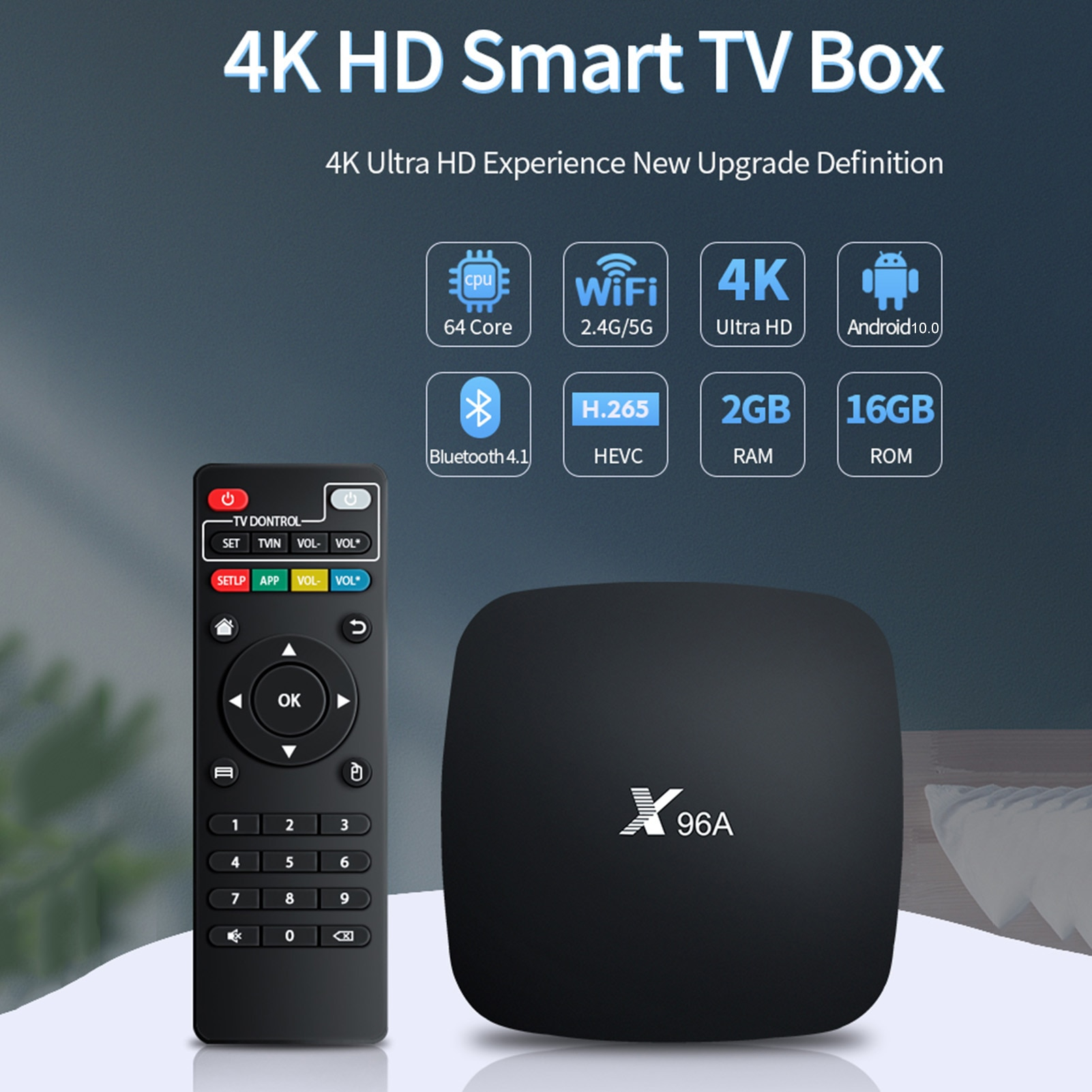 X96 Android TV Box Android 10.0 TV Box 2.4GHz 5GHz Dual Band WiFi Set-Top TV Box Quad Core ARM Corte