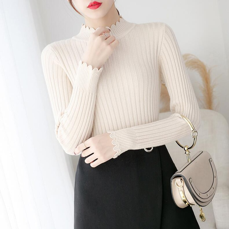 Женский свитер, пуловер, сезон осень-зима, однотонный облегающий Теплый Женский вязаный свитер с высоким воротником, джемпер, топы, женский ...