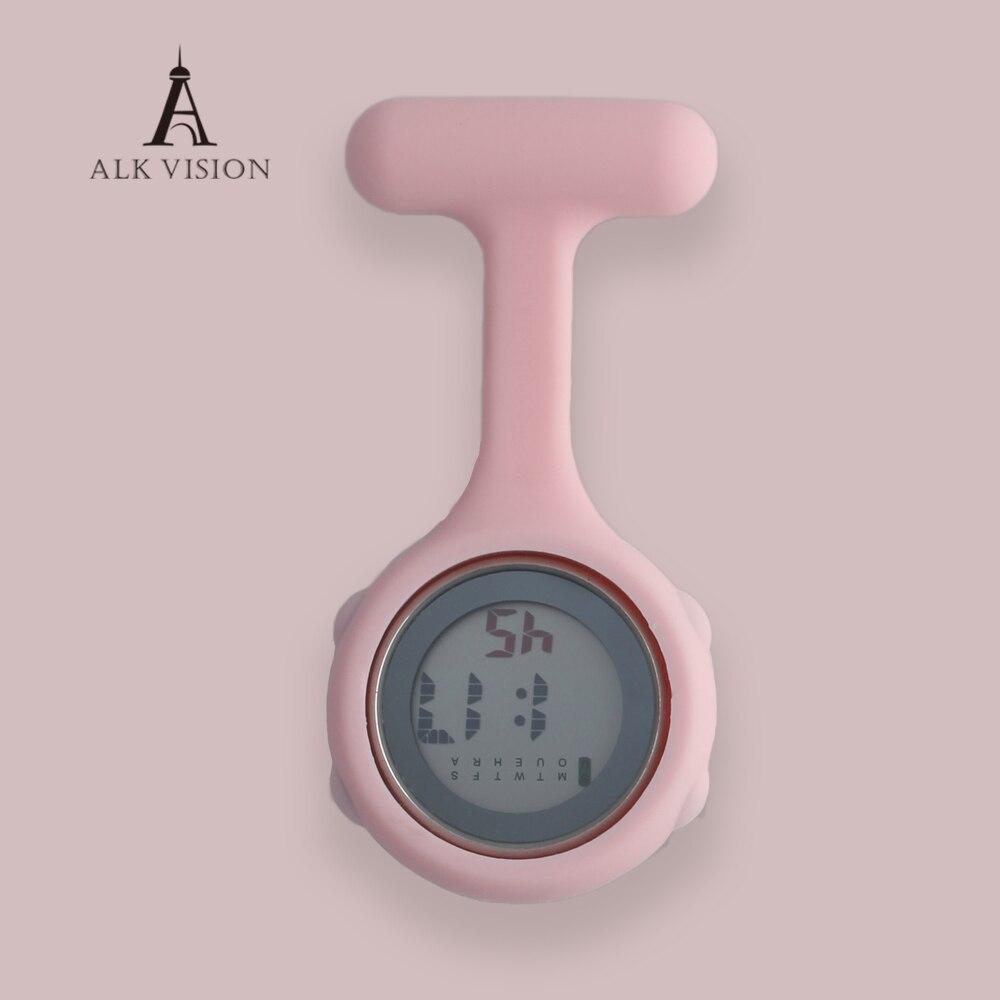 ALK Nurse Watch Silicone Digital Nurse Watches Brooch Lapel Printed Rubber Sleeves Medical Clock Fob Watch Nursing Gift Unisex фото