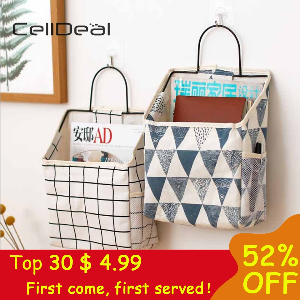 1Pc Lattice Hanging Storage Bag Bedside Storage Organizer Dorm Room Phone Book Magazine Storage Bag Holder With Hook Bed Pocket