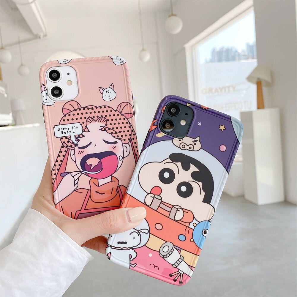 Милый японский аниме Сейлор Мун чехол для телефона для iphone 11 XSMAX 7 8 TPU мягкий карандаш Shinchan для Fundas iphone XR мобильный телефон чехол