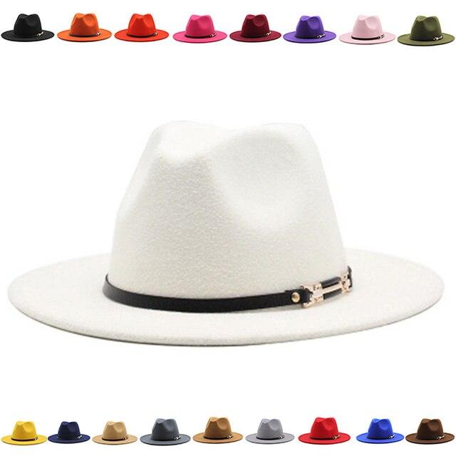 fedora hat band belt buckle fascinator felted hats men wide brim autumn winter black green new classic luxury winter women hats