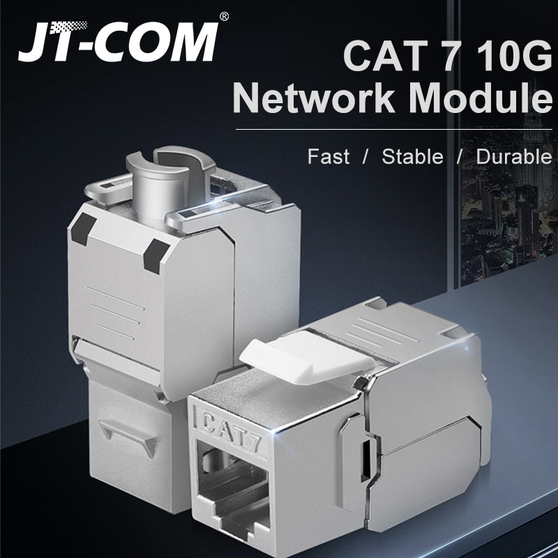 5PCS 10GB Cat7 Network Shielded RJ45 Module Toolless  Cat7 Network Keystone Jack Straight-Throustgh Connector Adapter