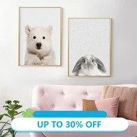 Toile de decoration de noel  affiches danimaux  ours polaire et lapin  tableau dart mural pour decoration de salon  decoration de maison