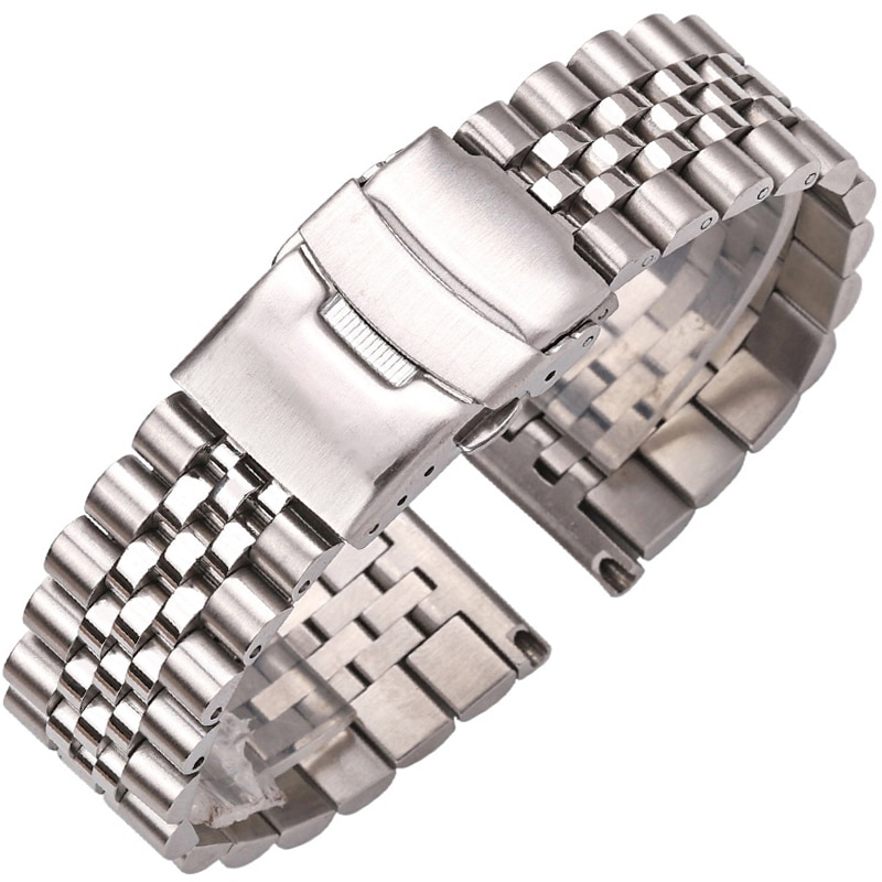 Stainless Steel Watch Bracelet Strap 20mm 22mm 24mm Women Men Silver Solid Metal Watchband Accessories stainless steel watchband bracelet 20mm 22mm men metal brushed curved end watch band strap clocks accessories
