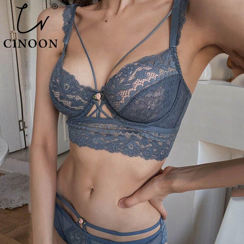 CINOON Top Classic Bandage Bra Set Lingerie Push Up Brassiere Lace Underwear Set Sexy Transparent Panties For Women underwear