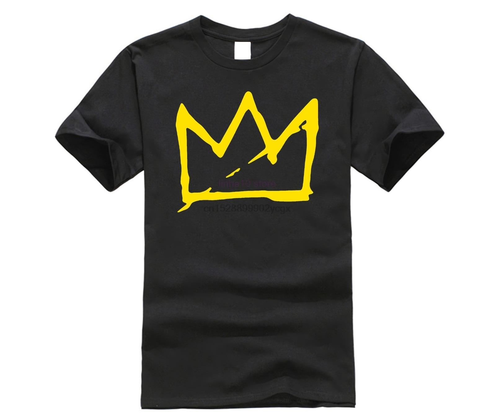 Camiseta de algodón de verano para hombre, novedad, camisetas frescas, camiseta de manga corta para hombre, Camiseta de cuello redondo de moda casual con corona de Basquiat para hombre