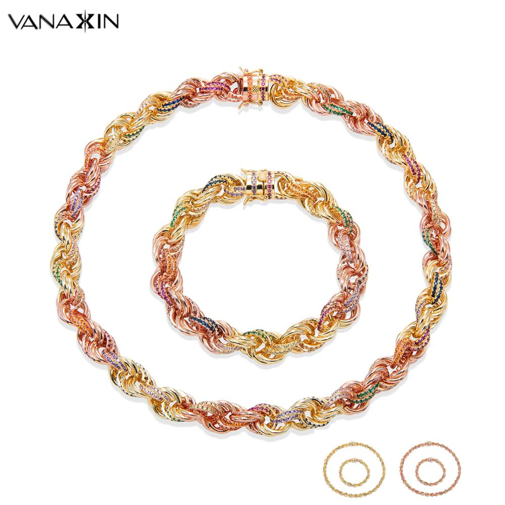Twist Rope Chains Men Women Colorful Jewelry Sets Necklaces Bracelets VANAXIN Iced Out Zircons Chains Rock Charms Gift Luxury