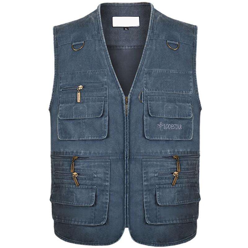 Мужская Повседневная летняя хлопковая джинсовая жилетка размера плюс 6XL 7XL, мужская куртка без рукавов, жилет с несколькими карманами для фо...