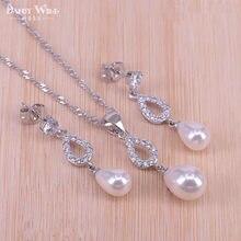 Disfraz de mujer, conjuntos de joyas de Color plata y Perla Natural de agua dulce, colgante de circonita blanca y collar, pendientes, caja de regalo
