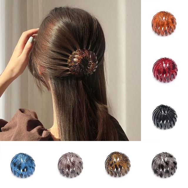 Fashion Women Hair Bun Bird Nest Expanding Horsetail Buckle Hair Clip Female Ponytail Claw Pins Ladies Headwear Hair Accessories