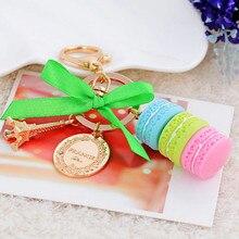 Vente mode Macarons gâteau porte-clés avec Effiel tour porte-clés bijoux accessoires pour femmes sac