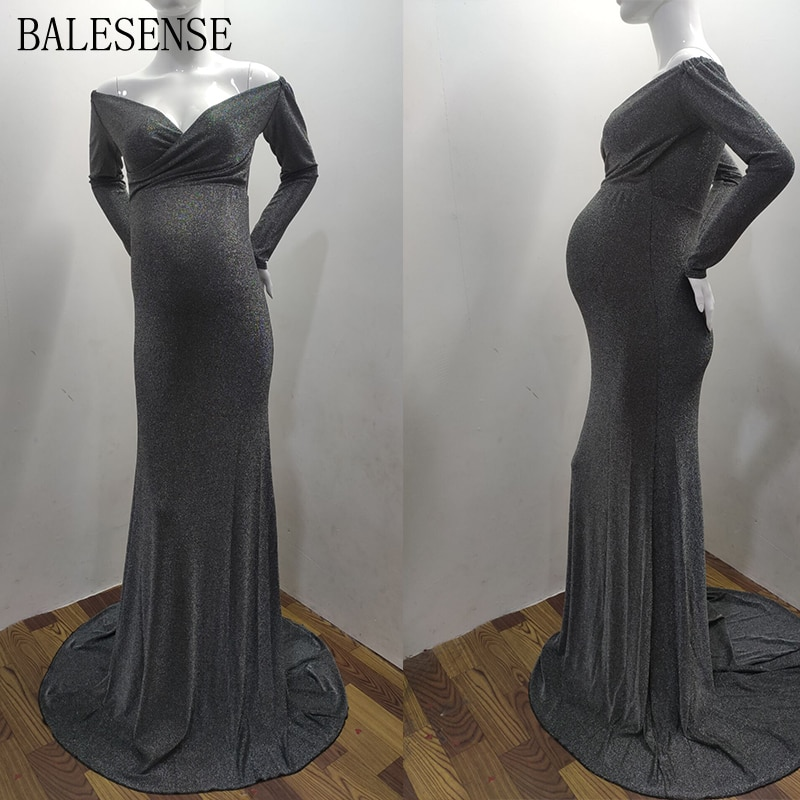 Pregnant Women Sequin Off Shoulder Long Sleeve Slim Fit Maternity Dresses for Photo Shoot Maxi Gown Pregnancy Dress Photography enlarge