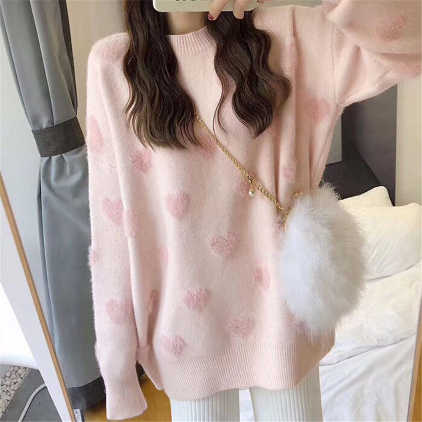 women's loose jacket fall winter love pullover long sleeve lazy style net red fashion retro knit top 2020 New hot sale enlarge