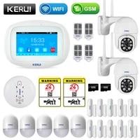 KERUI K52 sans fil maison intelligente WIFI GSM systeme dalarme fumee feu APP controle securite porte capteur detecteur Surveillance camera IP