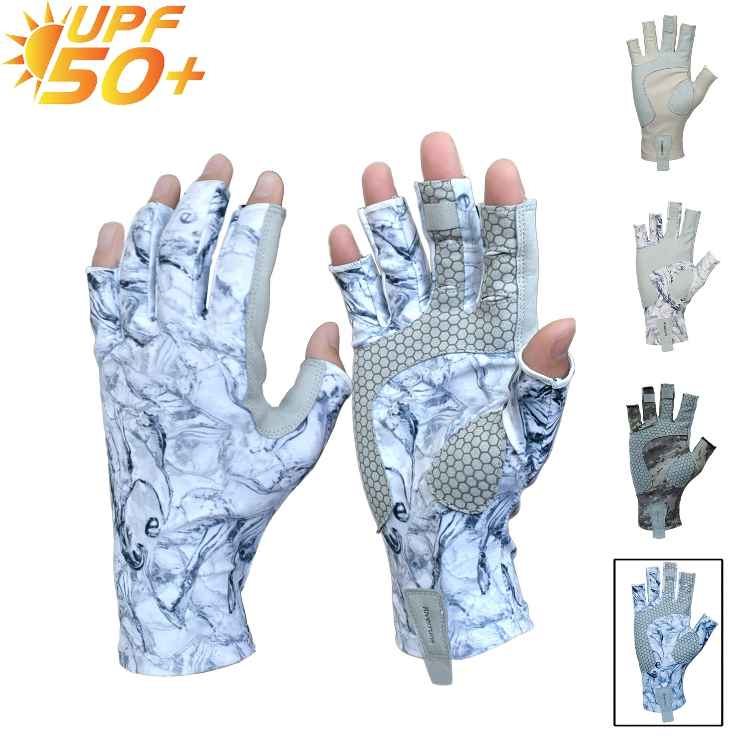 Riverruns Fingerless Fishing Gloves are designed for Men and Women Fishing, Boating, Kayaking, Hiking, Running, Cycling